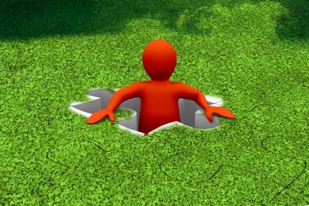 missing piece: Car�cter rojo que aparece en un rompecabezas con piezas que faltan