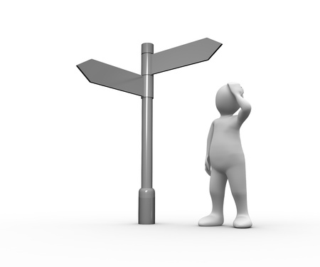 human representation: Lost white human representation looking at blank signpost on white background