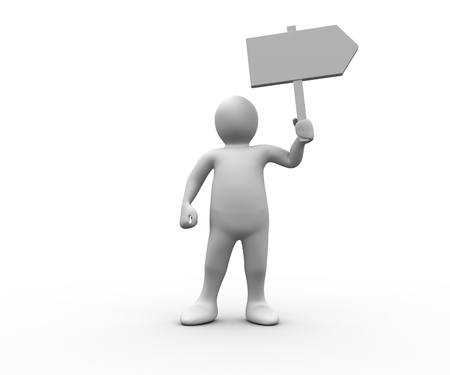 Human figure holding blank signpost on white background Stock Photo - 20499570