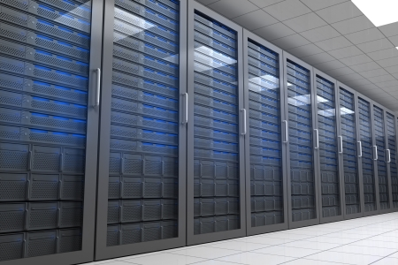 data center: Hallway with row of tower servers in data centre