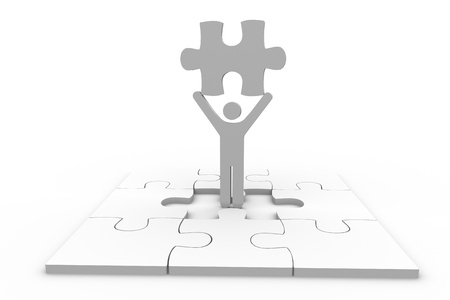 human representation: Human representation holding jigsaw piece over unfinished puzzle on white background