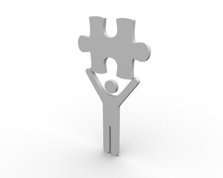 brandishing: Human figure brandishing a jigsaw piece on white background