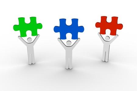 brandishing: Human figures brandishing colorful jigsaw pieces on white background