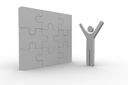 White human figure raising arms next to solved jigsaw puzzle on white background Stock Photo - 20493992