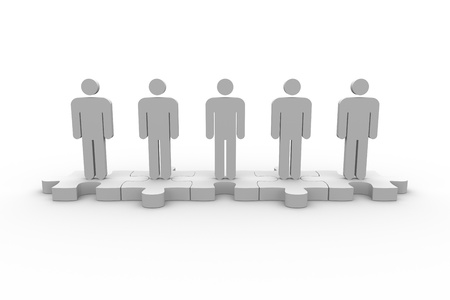 meshed: Meshed jigsaw pieces with human forms standing in line on white background Stock Photo