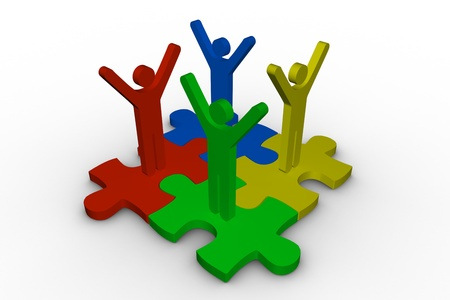 human representation: Group of meshed jigsaw pieces with colorful human representation on white background