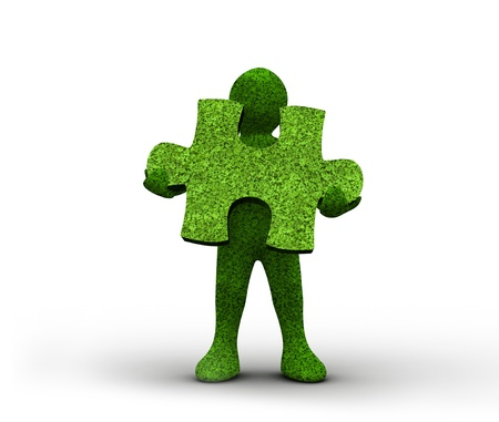 human representation: Green human representation holding a grass jigsaw puzzle on white background