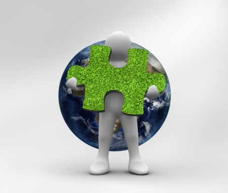 human representation: Human representation holding a grass jigsaw puzzle with planet on the background