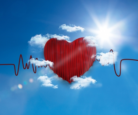 heart rate: Heart rate line in the bright blue sky