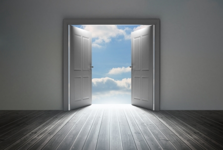 dull: Doorway revealing bright blue sky in dull grey room
