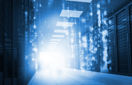 data center: Glowing blue matrix falling in data center