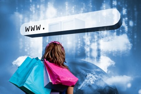 address bar: Girl with shopping bags looking at address bar with data servers on top of earth Stock Photo