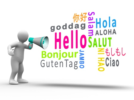 bonjour: White figure revealing hello in different languages with a megaphone on white background