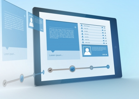 profile icon: Digital tablet projecting social media profile on blue background