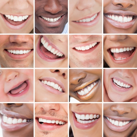 Collage of bright white smiles promoting dental care on white background photo