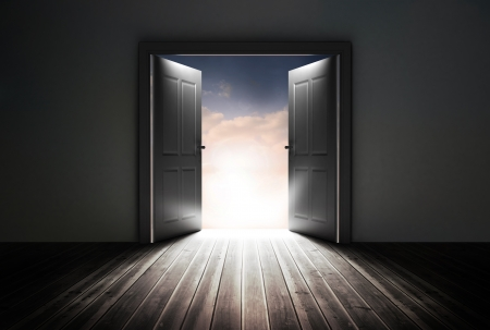 opening door: Doors opening to reveal beautiful sky in dark grey room