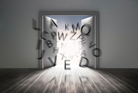 floorboards: Doors opening to show flying letters in a grey room Stock Photo