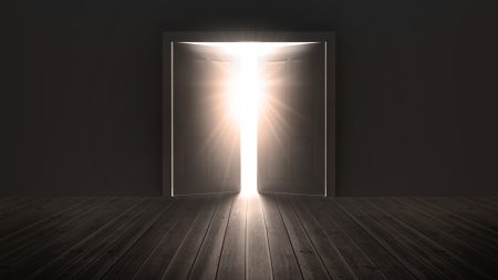 floorboards: Doors opening to show a bright light in the darkness Stock Photo