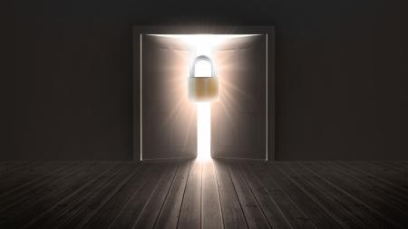 floorboards: Padlock guarding door to bright light in the darkness