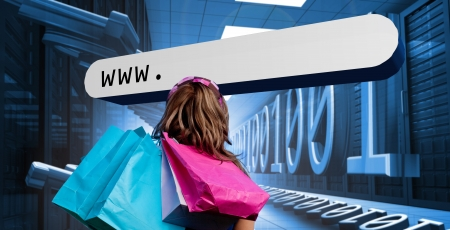 address bar: Girl with shopping bags looking at address bar floating in data center with binary code