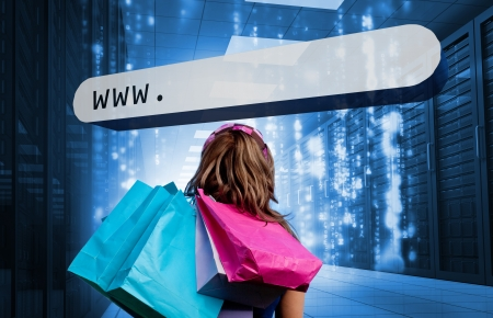 address bar: Girl holding shopping bags looking at address bar in data center with matrix