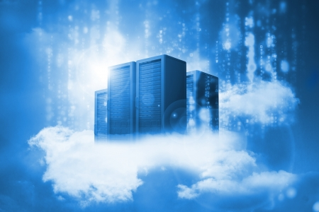 hardware: Data servers resting on clouds in blue in a cloudy sky Stock Photo