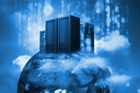 data storage: Data servers on top of the world in blue in a cloudy sky Stock Photo