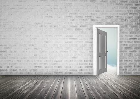 the open space: Doorway opening to blue sky in grey brick wall room  with floorboards Stock Photo