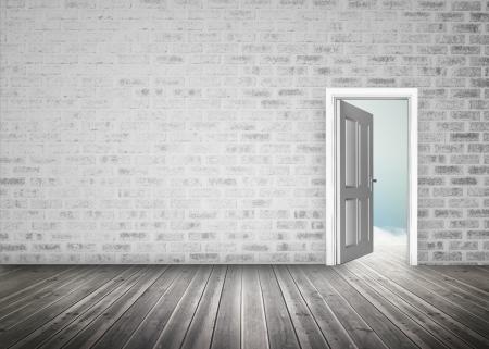 door opening: Doorway opening to blue sky in grey brick wall room  with floorboards Stock Photo