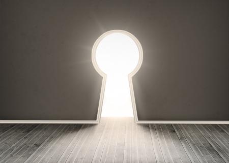 floorboards: Door shaped keyhole showing bright light in dark grey room