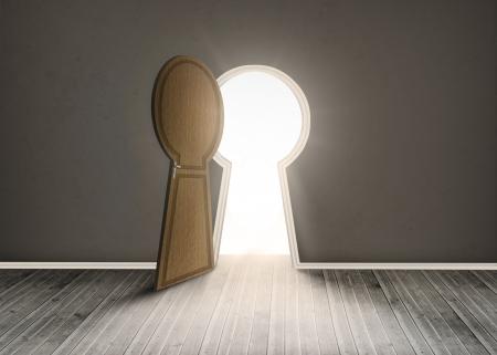 floorboards: Keyhole shaped doorway in dark grey room