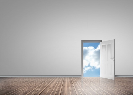 escapism: Door opening to reveal sunny blue sky in a grey room with floorboards Stock Photo