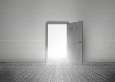 dull: Door opening to reveal bright light in a dull grey room