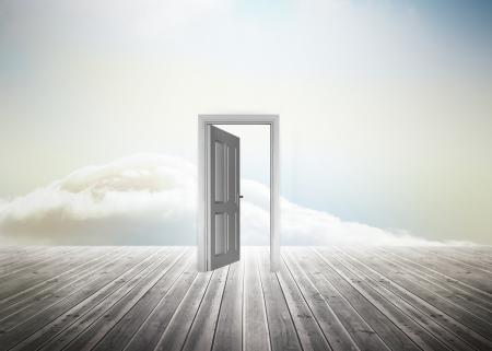 floorboards: Doorway standing on floorboards in a beautiful heavenly sky