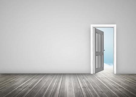 floorboards: Doorway opening to blue sky in grey room with wooden floorboards Stock Photo