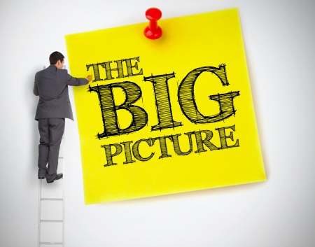 picture person: Businessman writing the big picture on a giant post it on white background Stock Photo