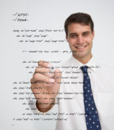 sql: Smiling businessman writing in sql language on a transparent board Stock Photo