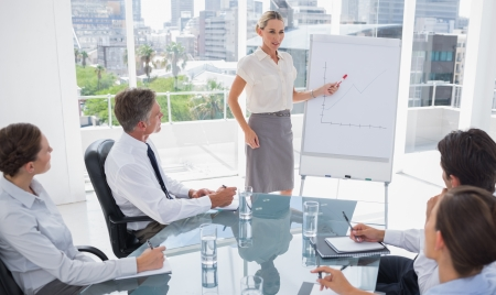 Blonde businesswoman pointing at a growing chart during a meeting photo
