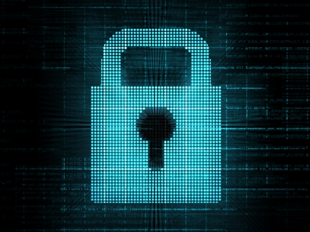 computer security: Blue digital lock on grid background Stock Photo