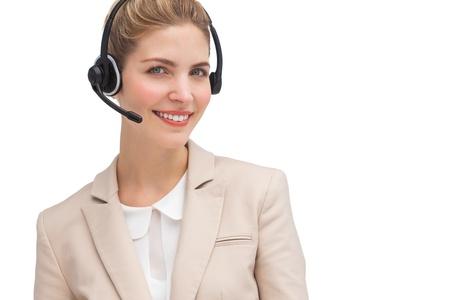 call center agent: Sorridente agente di call center con l'auricolare Archivio Fotografico