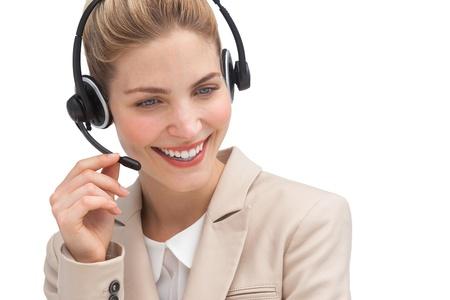call center agent: Allegro agente di call center con l'auricolare Archivio Fotografico