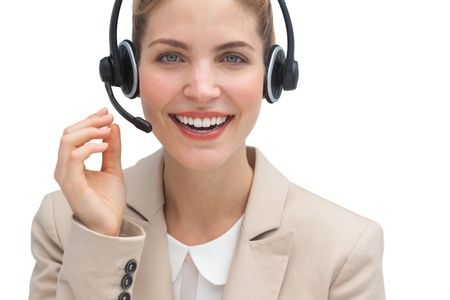 Friendly call center agent with headset photo