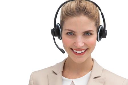 call center agent: Piuttosto chiamare agente centro sorridente alla macchina fotografica Archivio Fotografico