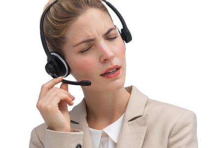 call center agent: Chiamare agente centro aiutare qualcuno per parlare su auricolare Archivio Fotografico