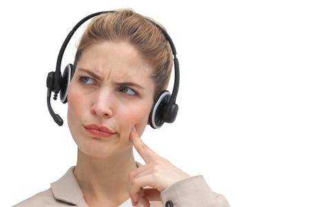 call center agent: Confuso agente di call center guardando verso l'alto