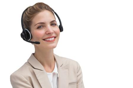 call center agent: Attraente agente di call center con auricolare