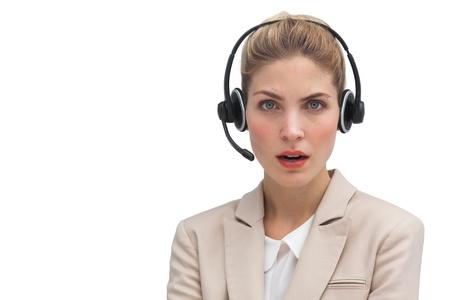 call center agent: Sorpreso agente di call center con auricolare