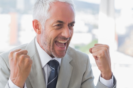 succesful: Succesful businessman cheering and clenching fists Stock Photo