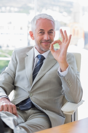 Happy businessman giving ok sign at his desk in office Stock Photo - 20592085