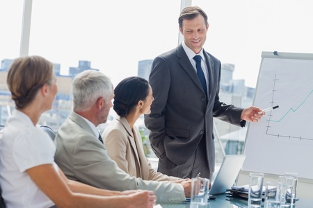 Boardroom meeting: Smiling businessman pointing at whiteboard during a meeting with colleagues listening to him